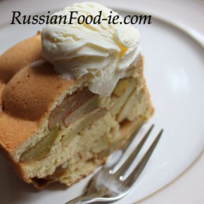 Apple Charlotte recipe. 'Sharlotka' Russian dessert, pie, cake. Serve warm or cold. If desired with whipped cream, custard or vanilla ice cream