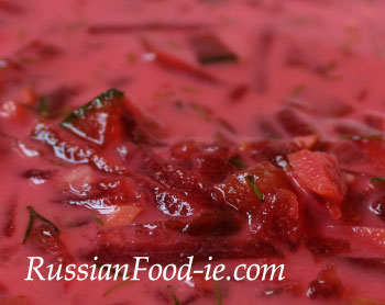 Borsch (Borscht) soup with smetana (sour cream). Recipe, Russian and Ukrainian cuisine