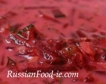 Borsch (Borscht) soup with smetana (sour cream). Recipe, Russian and Ukrainian cuisine