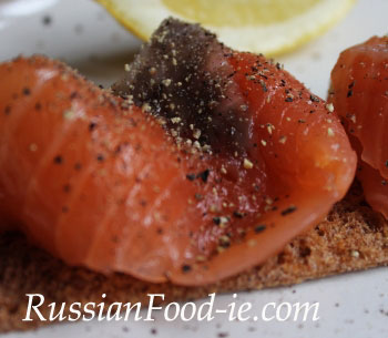 Home-made gravlax: cured salted salmon