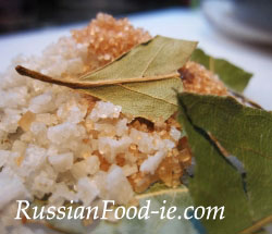 Russian salted herrings (seledka). Recipe