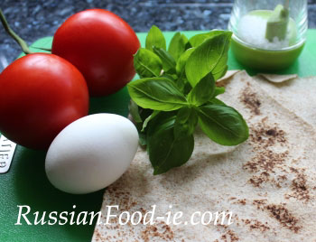 Lavash rolls with boiled egg, tomato, cheese & basil