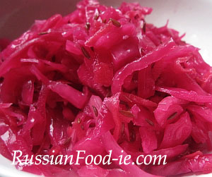 Pink pickled marinated cabbage (sauerkraut)