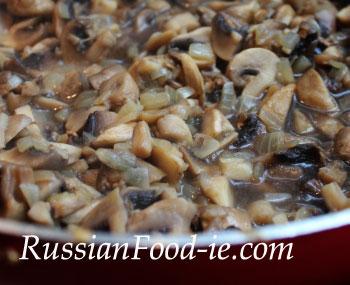 Mushroom julienne recipe. Sauté shallots