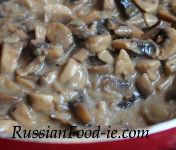 Mushroom julienne recipe. Mix cooked mushrooms with béchamel