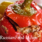 Stuffed peppers with minced beef and rice